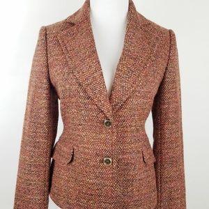 The Limited Size 2 Blazer Tweed Brown Pink Wool